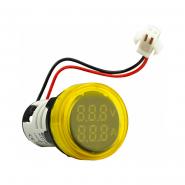 Амперметр+вольтметр круглый цифровой универсал.ток + напряж. ED16-22 VAD0-100А 50-500В(жёлтый)врезн.