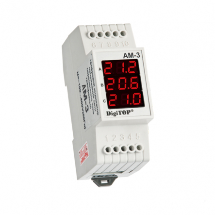 Амперметр АМ-3 DIN цифровой 3ф. (1-63А) АDigiTOP - 1