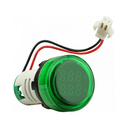 Амперметр+вольтметр круглый цифровой универсал.ток + напряж.ED16-22 VAD0-100А 50-500В(зелёный)врезн. - 1