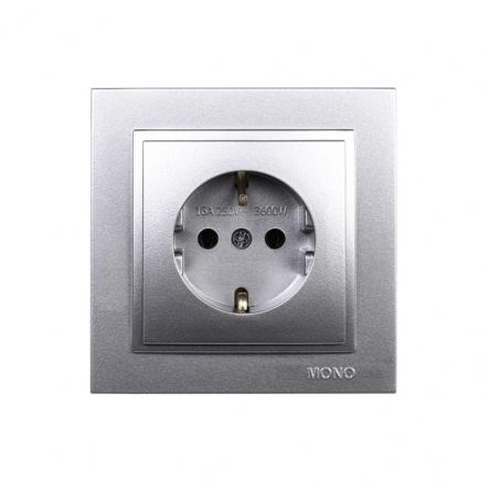 Розетка 1-я с заземлением , Mono Electric, DESPINA (серебро) - 1