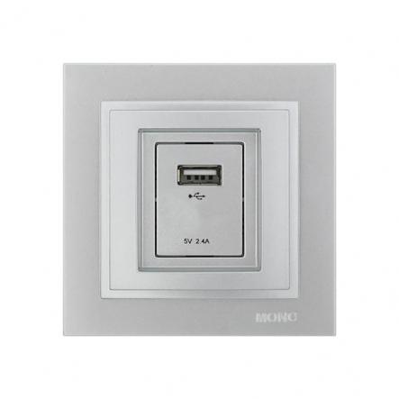 Розетка USB-ЗАРЯДКА, Mono Electric, DESPINA (серебро) - 1
