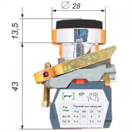 Выключатель кнопочный ВК-021НЦВЧ 1З черный IP-54 (выпуклый) Промфактор - 1