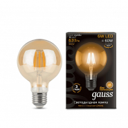 Лампа Gauss LED Black Fil G95 6W E27 2700K GOLD