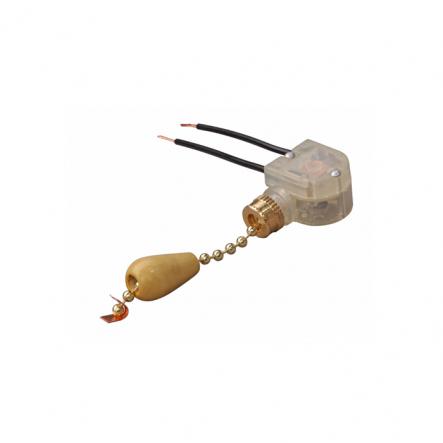 Выключатель на бра короткий шнурок золото-дерево - 1