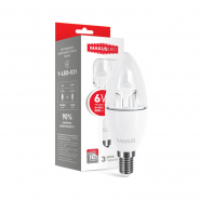 Лампа LED C37 CL-C 6W 3000K 220V E14 Maxus