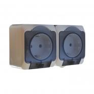Блок - 2 розетки 2Р+PE с прозрач. крышкой 2РЗ16-З-IP44N