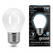 Лампа Gauss LED Filament Шар OPAL E27 5W 450lm 4100K