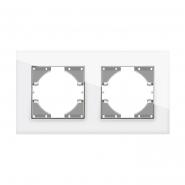 Рамка белое стекло двойная горизонтальная VIDEX BINERA