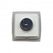 Кнопка звонка белая с черной клавишей (квадрат_круг) на блистере