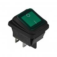 Перемикач 1 клав. вологозах.  підсвічуванням KCD2-201WN GR/B 220V