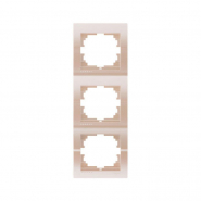 Рамка 3-я вертикальная  жемчужно-белый металлик Lezard серия DERIY