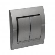 Выключатель 2-кл темно серый металлик DERIY