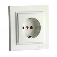 Розетка 1-я с заземлением, защита для детей Mono Electric, DESPINA (белый)