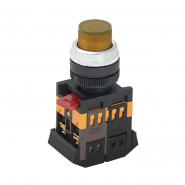 Кнопка  ABLFP-22 желтая d22мм неон/240В 1з+1р ИЭК