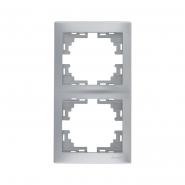 Рамка 2-я вертикальная  металл серый б/вставок Lezard серия MIRA