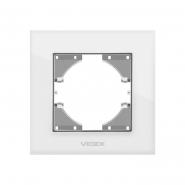 Рамка белое стекло одинарная горизонтальная VIDEX BINERA