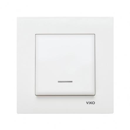 Выключатель одноклавишный с подсветкой белый VIKO Серия KARRE - 1