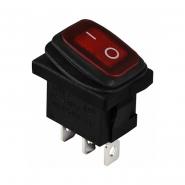 Перемикач 1 клав. вологозах. з підсвічуванням  KCD1-2-101WN R/B  220V АСКО