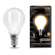 Лампа Gauss LED Filament Шар OPAL E14 5W 420lm 2700K
