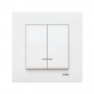 Выключатель двухклавишный  с подсветкой белый VIKO Серия KARRE