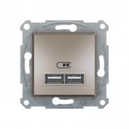 Розетка USB  2,1А бронза ASFORA