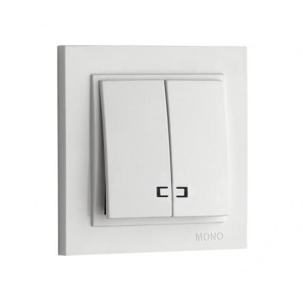 Выключатель 2кл. с подсвет. Mono Electric, DESPINA (белый) - 1