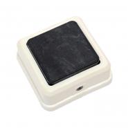 Кнопка звонка белая с черной клавишей (квадрат-квадрат) на блистере
