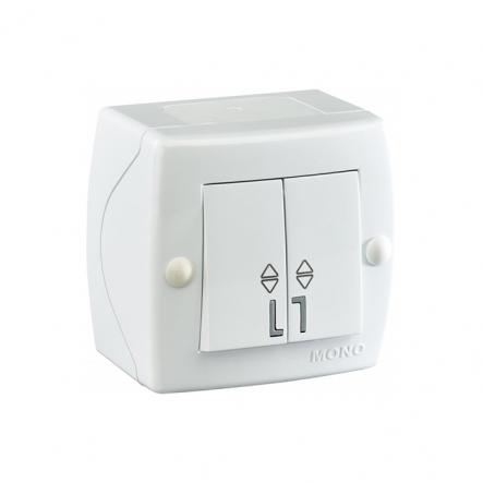 Выключатель 2кл проходной накладной Mono Electric, OCTANS IP 20 белый - 1