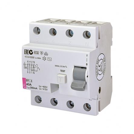 Реле дифференциальное (УЗО) EFI-4 40/0,3 тип AC (10kA) ETI 2064143 - 1
