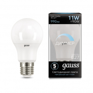 Лампа Gauss LED Blsck A60DIM 11W 4100K E27