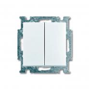 Выключатель двухклавишный проходной ABB белый Basic 55