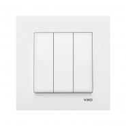 Выключатель трехклавишный белый VIKO Серия KARRE