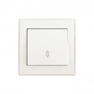 Выключатель одноклавишный  проходной  жемчужно-белый перламутр Lezard серия  RAIN