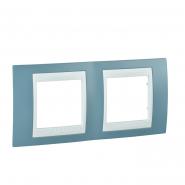 Рамка 2-местная синий/белый Unika