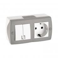 Выключатель 2кл+розетка с заземлением  накладной Mono Electric, OCTANS IP 20 серый