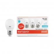 Лампа Gauss LED Elementary Globe 7W E27 4100K 1/40 3шт/уп