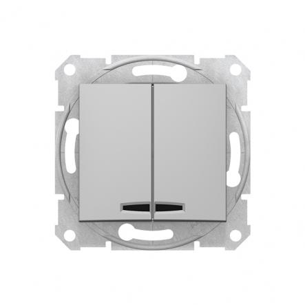 Выключатель 2 кл. алюминий с подсветкой Sedna - 1