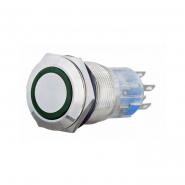 Кнопка металлическая  с подсветкой 2NO+2NC, зеленая 220V TYJ 19-272зел АСКО-УКРЕМ