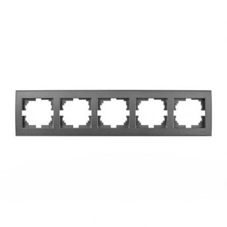 Рамка пятиместная Lezard Rain горизонтальная антрацит 703-4242-150 - 1