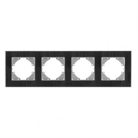 Рамка на 4 места горизонтальная VIDEX Binera Черный алюминий (VF-BNFRA4H-B) - 1