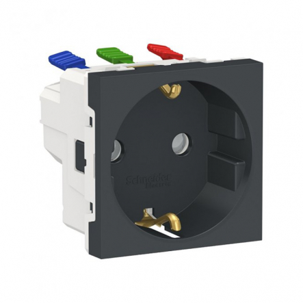 Розетка с заземлением со шторками Schneider Electric NU305754 (зажимной контакт) 16А (антрацит) - 1