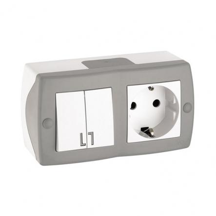 Выключатель 2кл+розетка с заземлением накладной Mono Electric, OCTANS IP 20 серый - 1