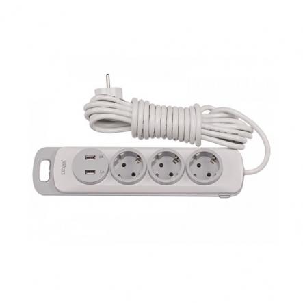 Сетевой удлинитель Luxel Nota 3 розетки 5М с заземлением и выключателем +2 USB гнезда (4335) - 1