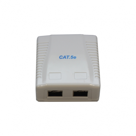 Розетка на 2 порта с экраном RJ-45 ,5Е cat ,внешняя Cablexpert - 1