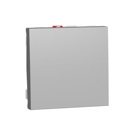 Выключатель одноклавишный 2 модуля Schneider Electric NU320130, 10А 2М (алюминий) - 1