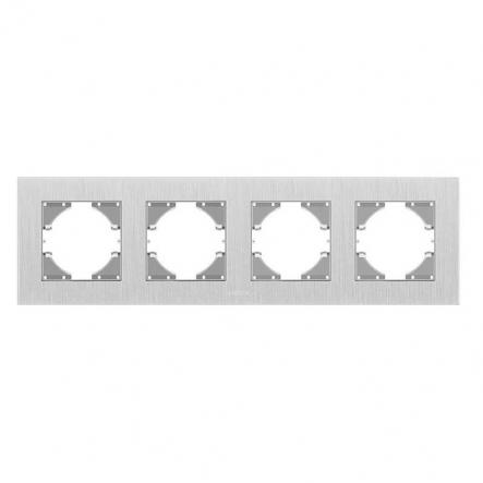 Рамка на 4 места горизонтальная VIDEX Binera Серебристый алюминий (VF-BNFRA4H-SL) - 1