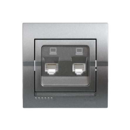 Розетка компьютерная двойная темно серый металлик Lezard серия DERIY - 1