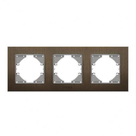 Рамка на 3 места горизонтальная VIDEX Binera Шоколадный алюминий (VF-BNFRA3H-CH) - 1
