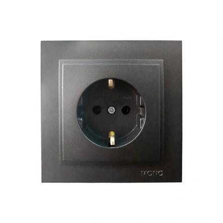 Розетка 1-я с заземлением , Mono Electric, DESPINA ( графит ) - 1