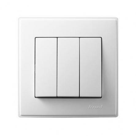 Выключатель трехклавишный Lezard Lesya 10 А 250В белый 705-0202-109 - 1